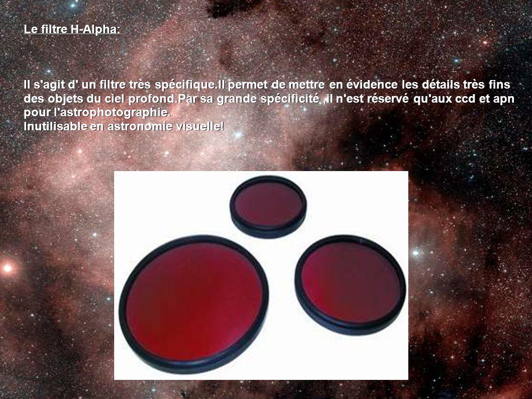 Le filtre H-Alpha: Il s agit d un filtre très spécifique.Il permet de mettre en évidence les détails très fins.