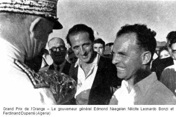 Grand Prix de l'Orange – Le gouverneur général Edmond Naegelen félicite Leonardo Bonzi et Ferdinand Duperré (Algeria)