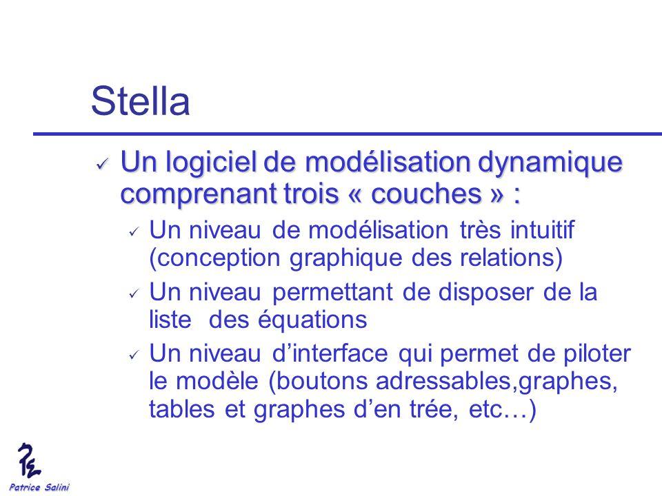 Stella Un logiciel de modélisation dynamique comprenant trois « couches » :