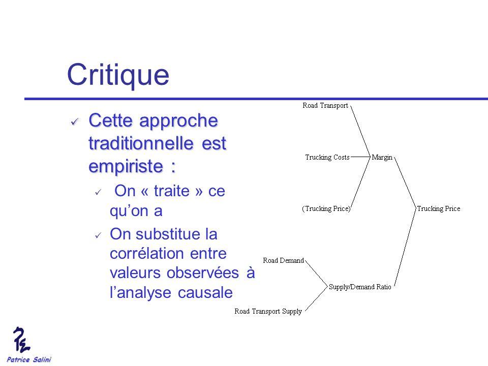 Critique Cette approche traditionnelle est empiriste :