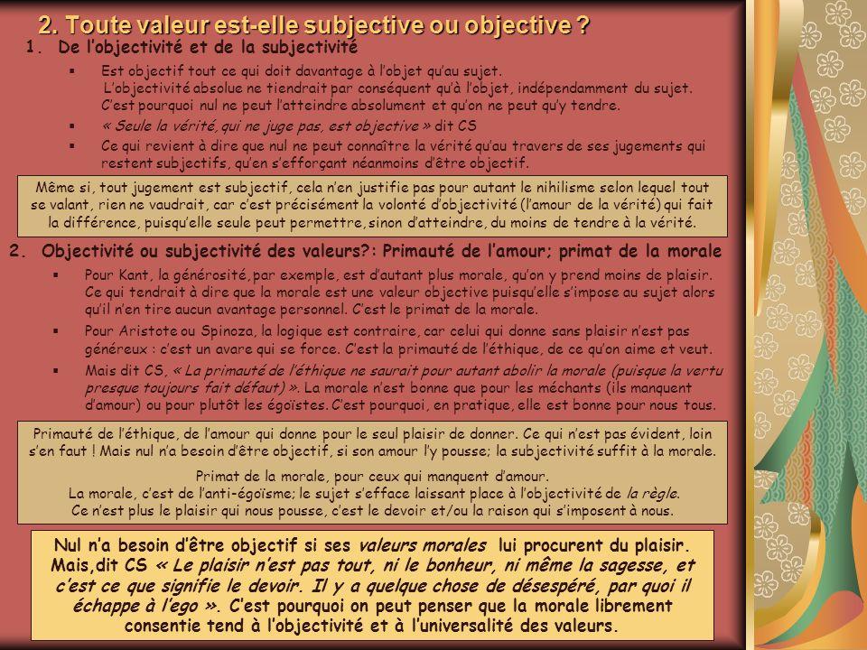 2. Toute valeur est-elle subjective ou objective