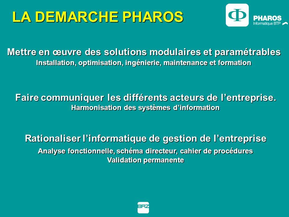 LA DEMARCHE PHAROS Mettre en œuvre des solutions modulaires et paramétrables. Installation, optimisation, ingénierie, maintenance et formation.