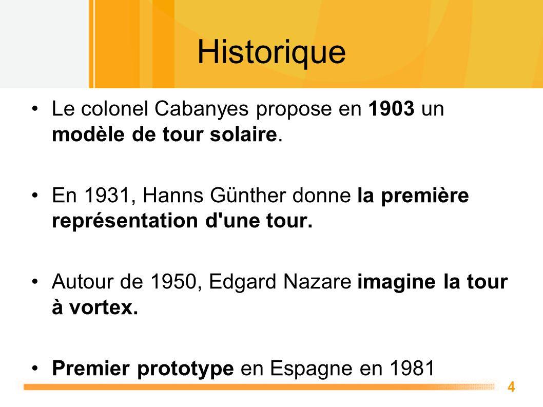 Historique Le colonel Cabanyes propose en 1903 un modèle de tour solaire. En 1931, Hanns Günther donne la première représentation d une tour.