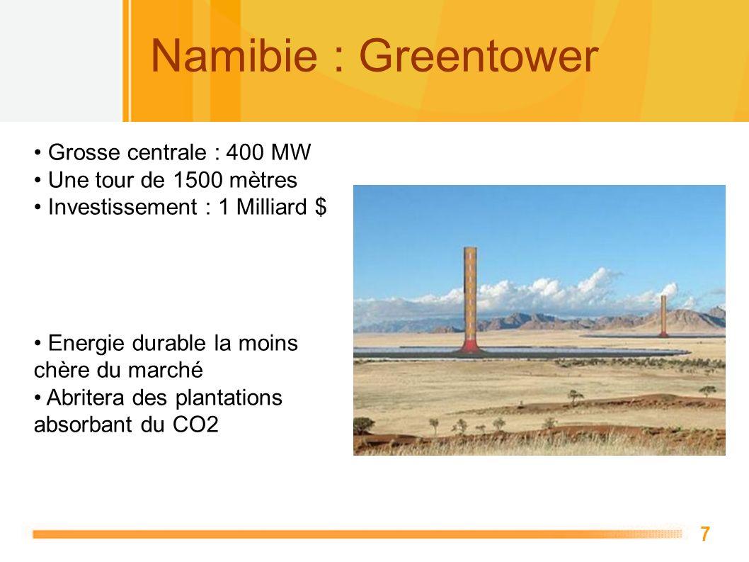 Namibie : Greentower Grosse centrale : 400 MW Une tour de 1500 mètres