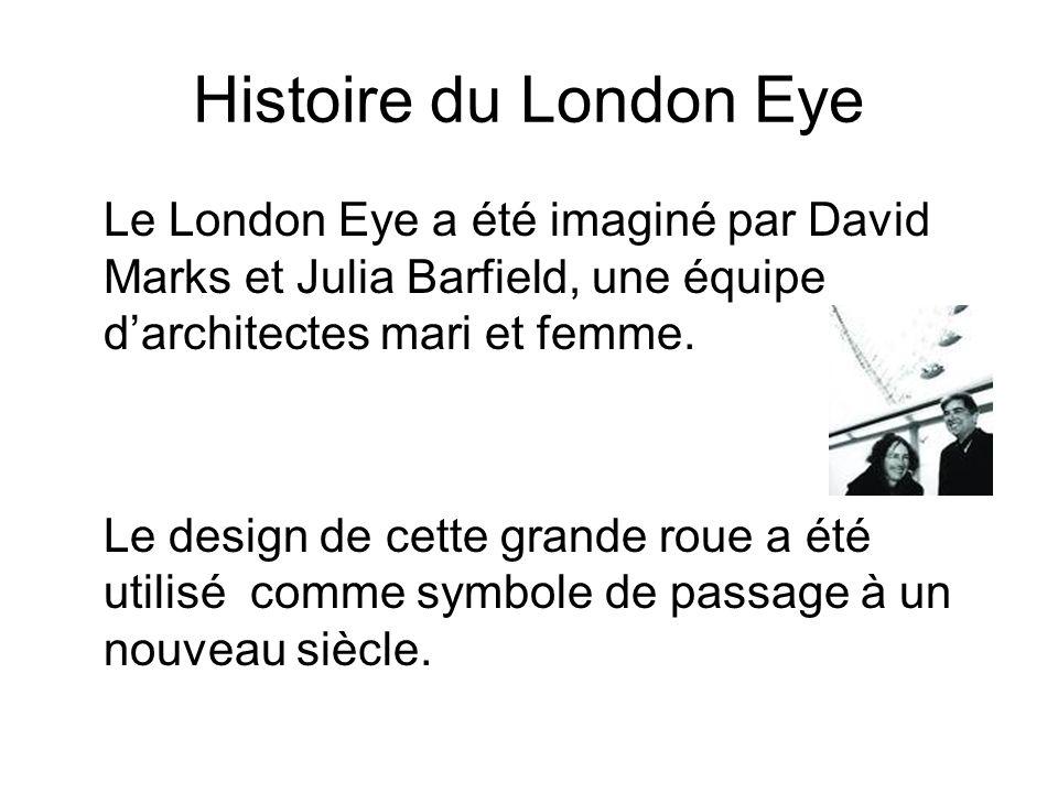 Histoire du London Eye Le London Eye a été imaginé par David Marks et Julia Barfield, une équipe d'architectes mari et femme.