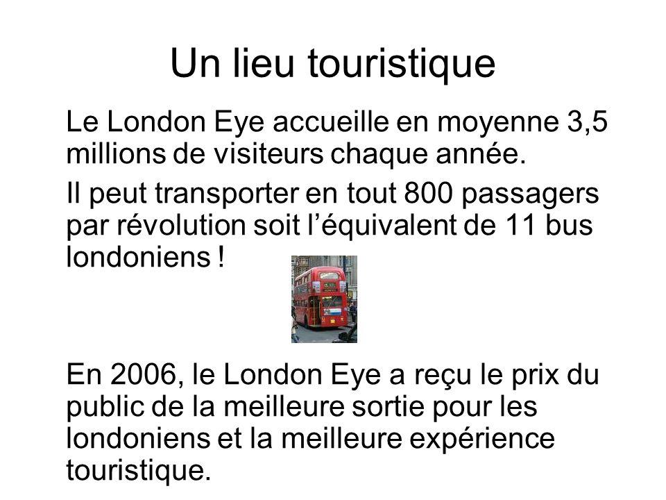 Un lieu touristique Le London Eye accueille en moyenne 3,5 millions de visiteurs chaque année.