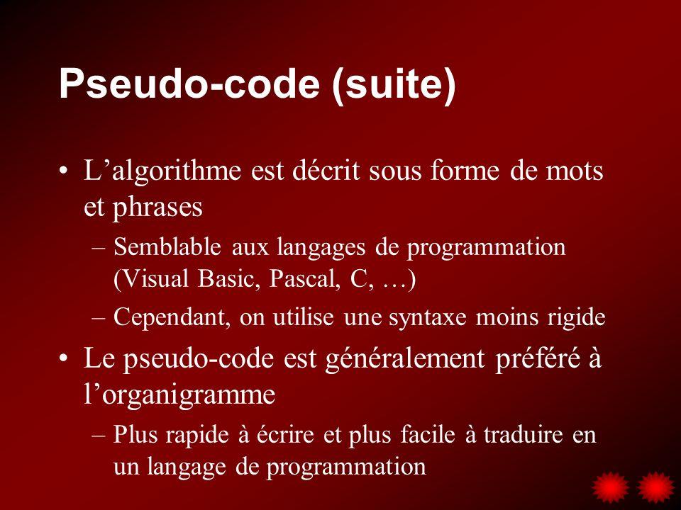 Pseudo-code (suite) L'algorithme est décrit sous forme de mots et phrases. Semblable aux langages de programmation (Visual Basic, Pascal, C, …)