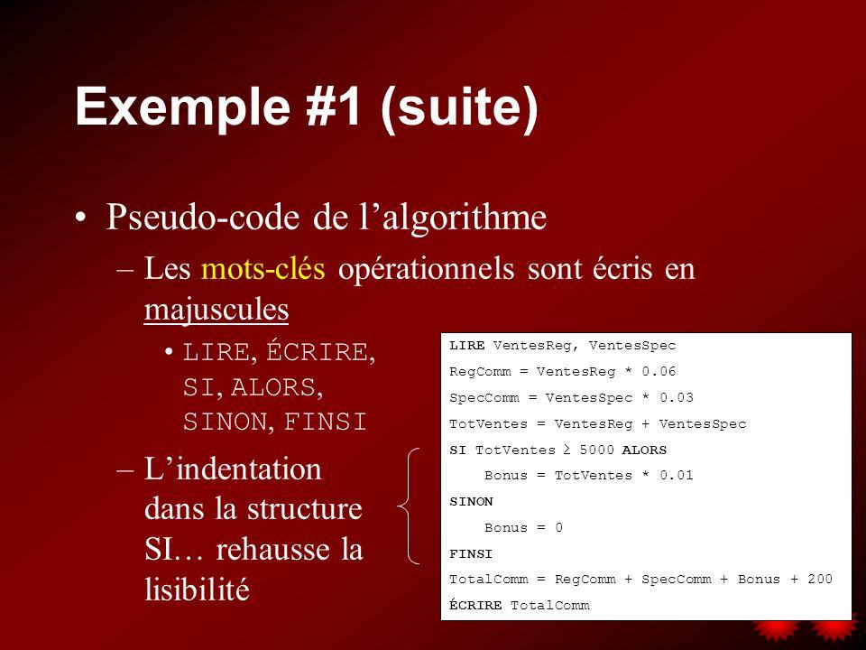 Exemple #1 (suite) Pseudo-code de l'algorithme