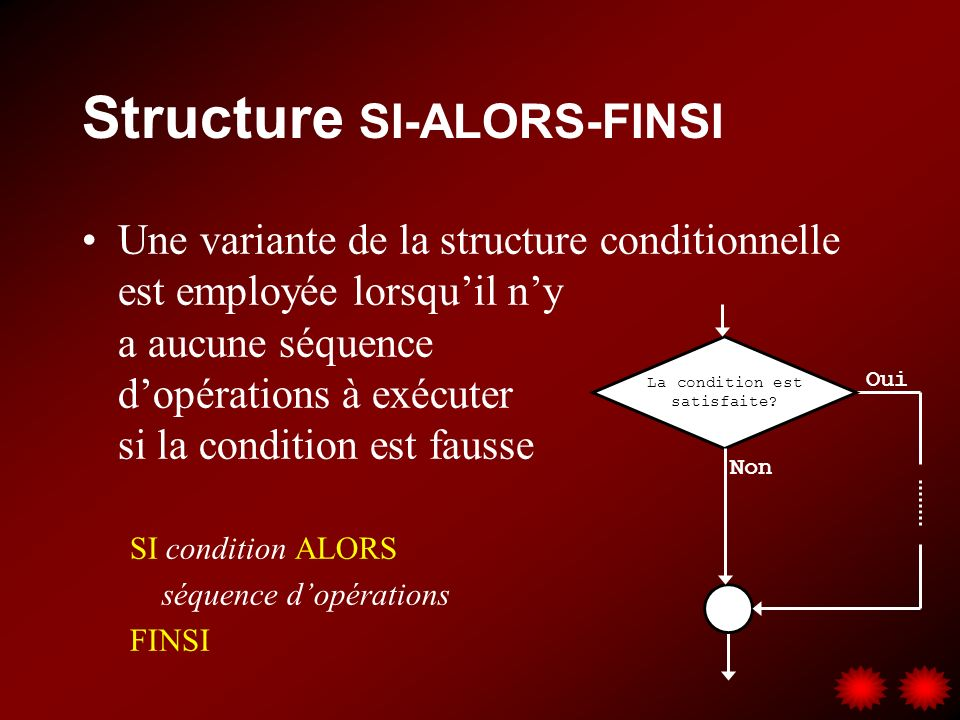 Structure SI-ALORS-FINSI