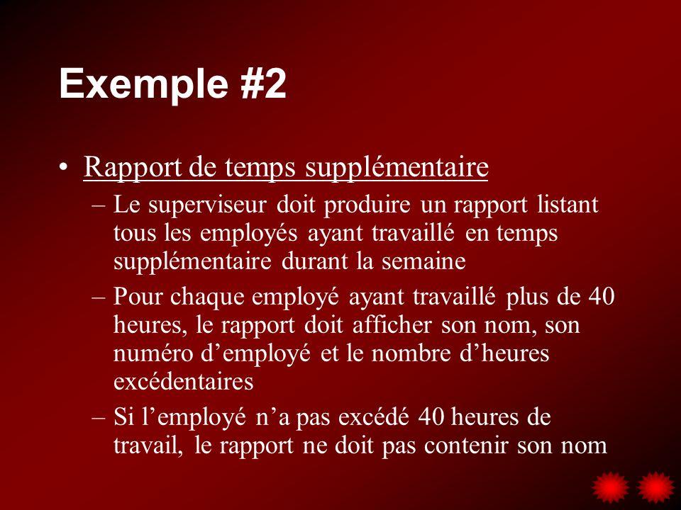 Exemple #2 Rapport de temps supplémentaire