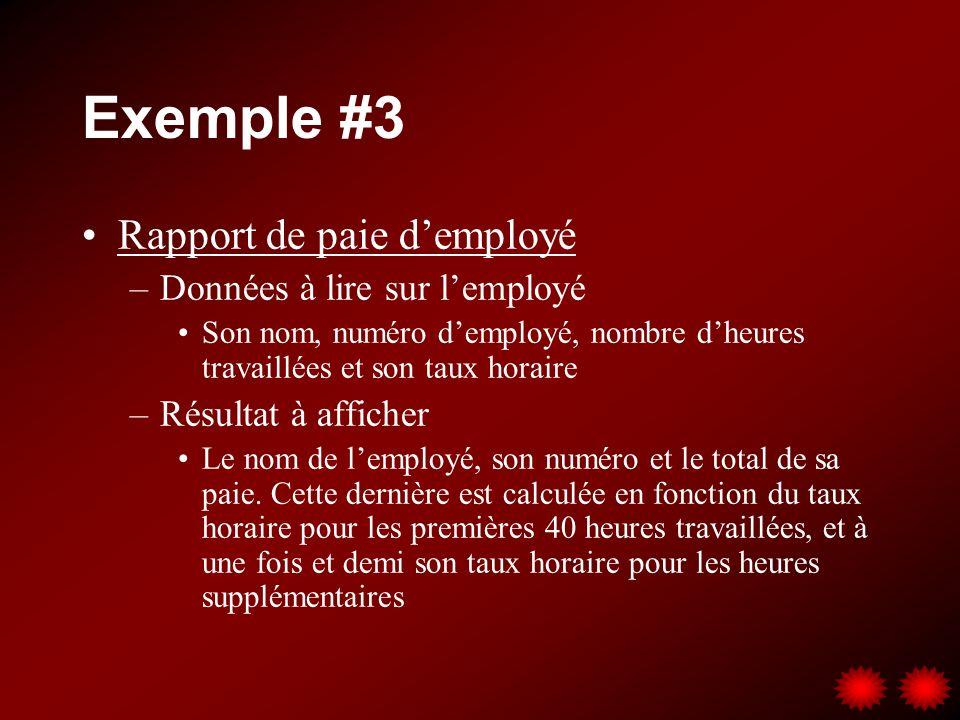 Exemple #3 Rapport de paie d'employé Données à lire sur l'employé