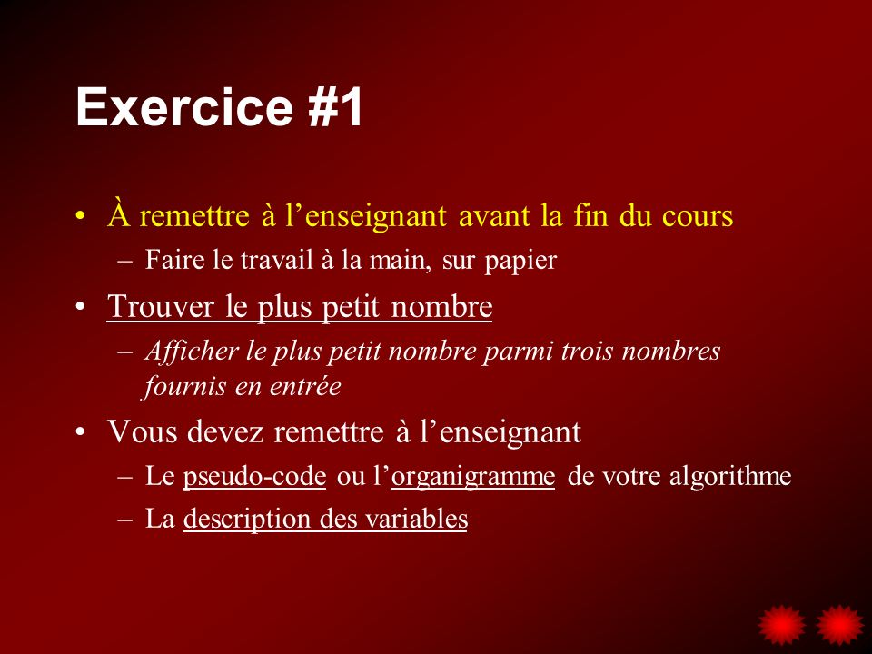 Exercice #1 À remettre à l'enseignant avant la fin du cours