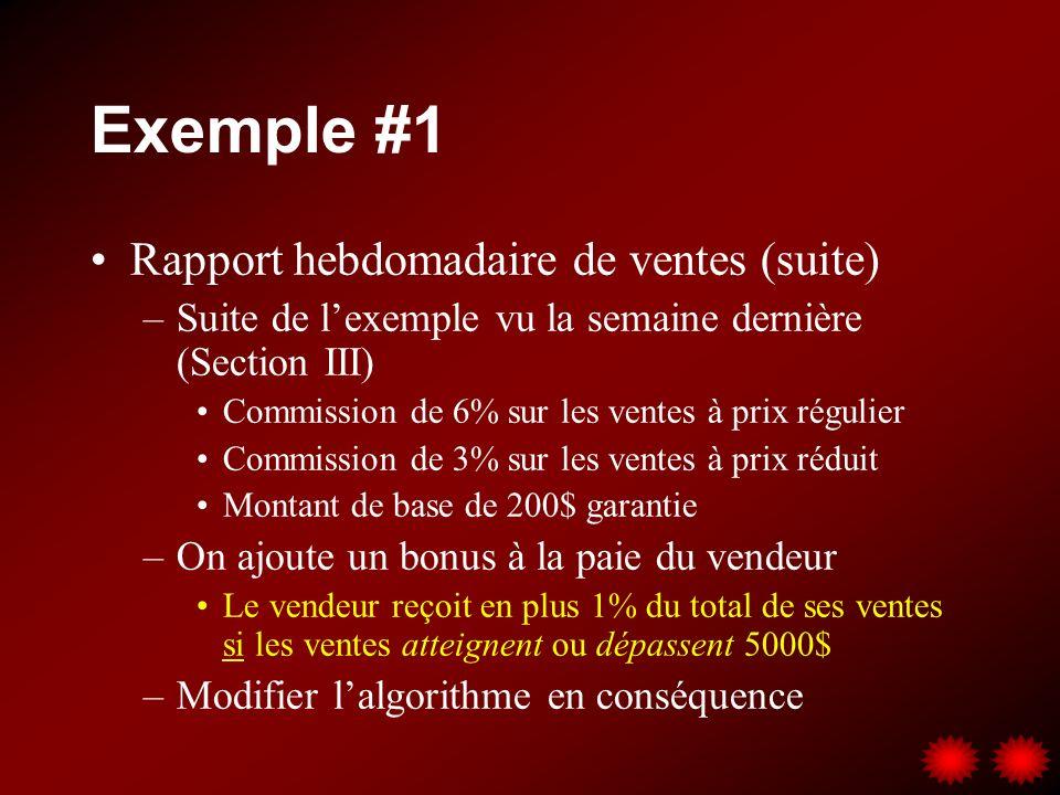 Exemple #1 Rapport hebdomadaire de ventes (suite)