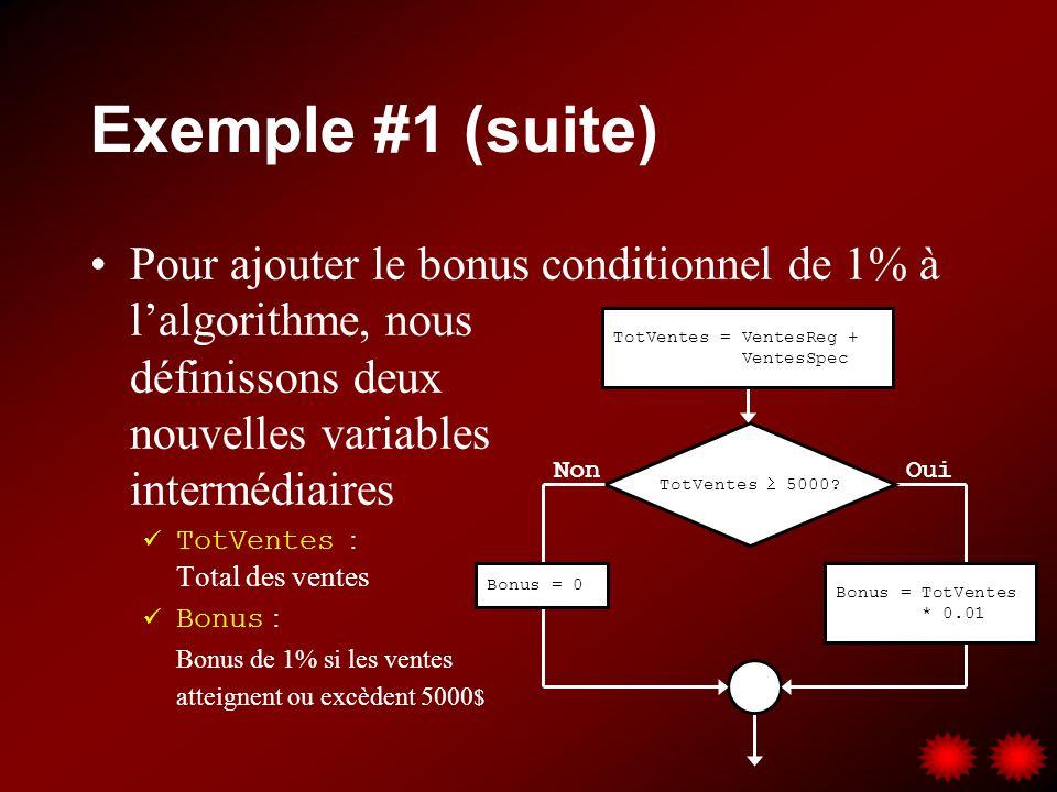 Exemple #1 (suite) Pour ajouter le bonus conditionnel de 1% à l'algorithme, nous définissons deux nouvelles variables intermédiaires.