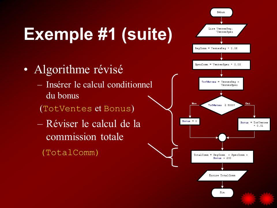 Exemple #1 (suite) Algorithme révisé