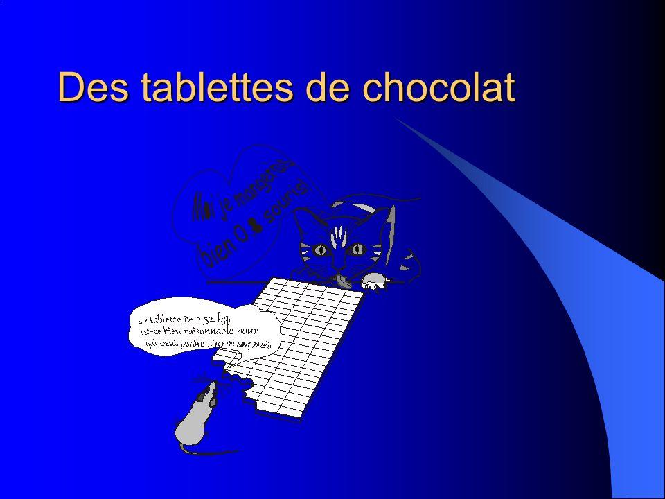 Des tablettes de chocolat