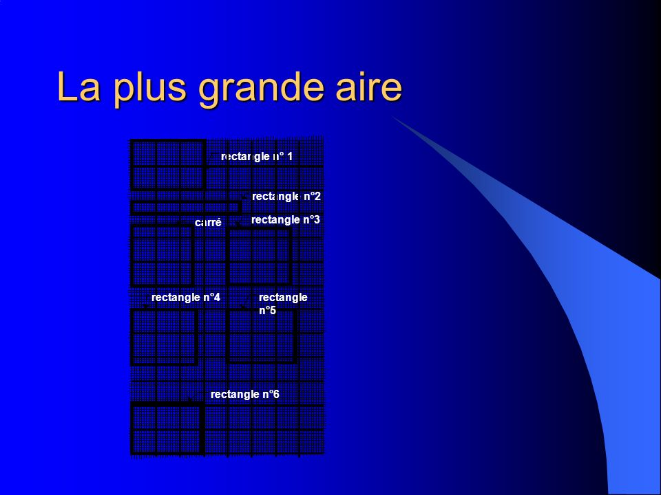 La plus grande aire rectangle n°2 rectangle n° 1 carré rectangle n°3