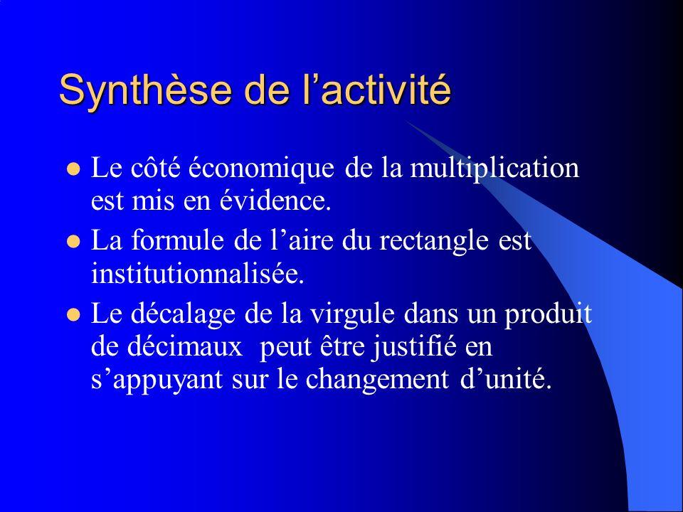 Synthèse de l'activité