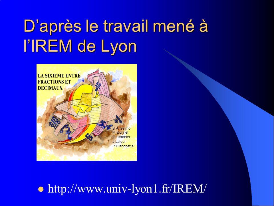 D'après le travail mené à l'IREM de Lyon