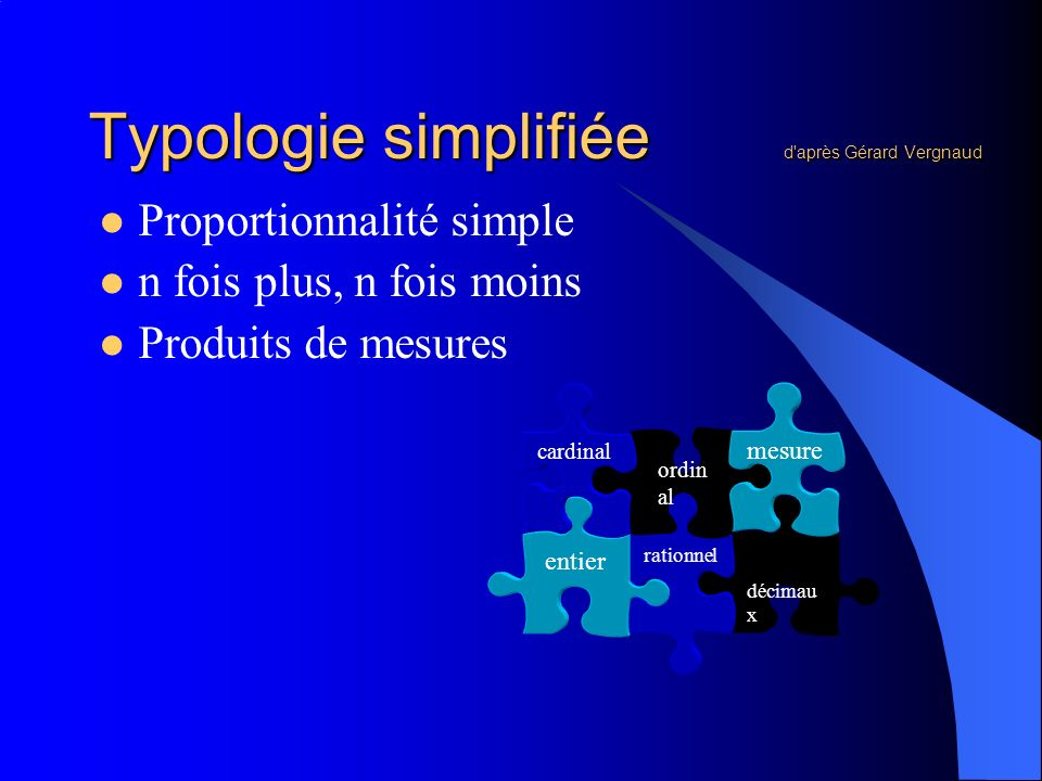 Typologie simplifiée d après Gérard Vergnaud