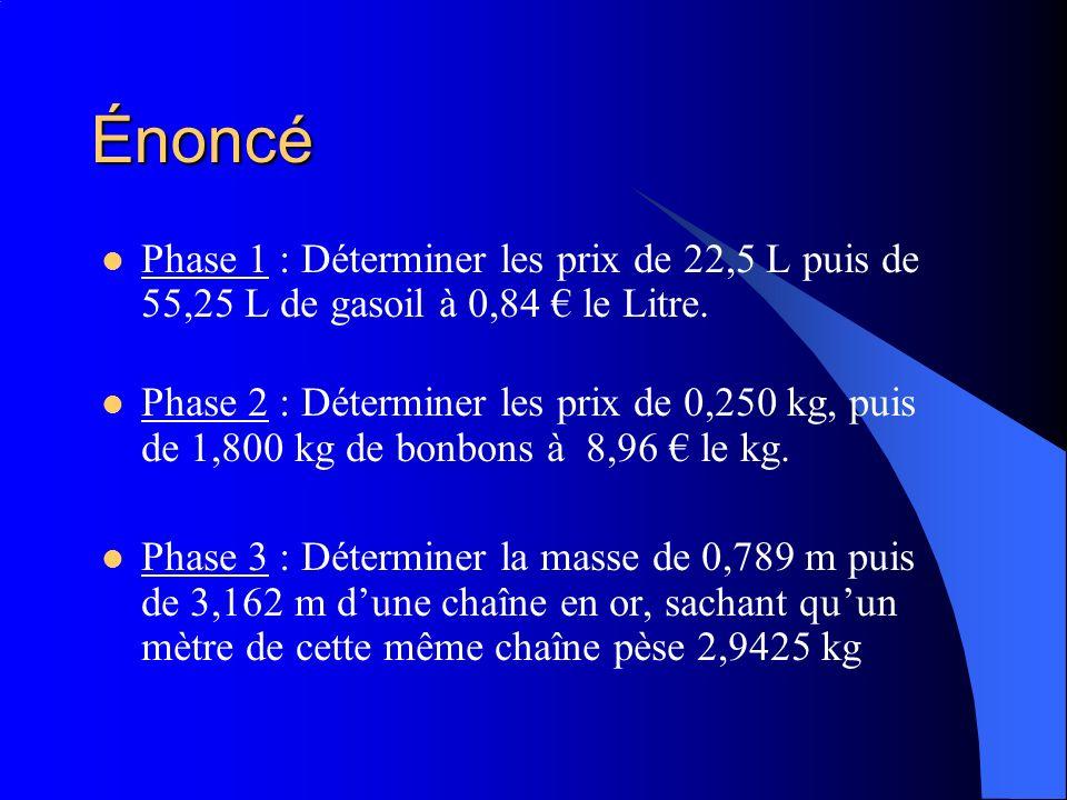 Énoncé Phase 1 : Déterminer les prix de 22,5 L puis de 55,25 L de gasoil à 0,84 € le Litre.