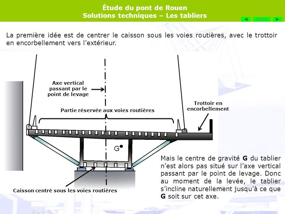 MENU La première idée est de centrer le caisson sous les voies routières, avec le trottoir en encorbellement vers l'extérieur.