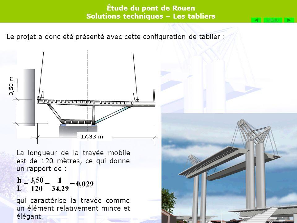 Le projet a donc été présenté avec cette configuration de tablier :