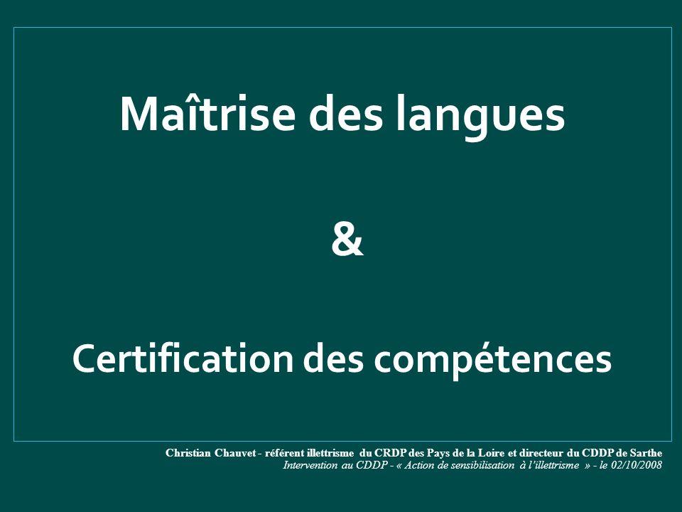 Certification des compétences