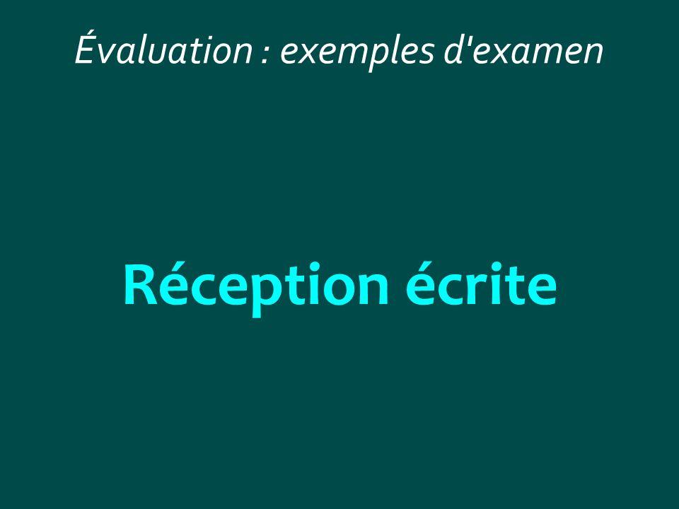 Évaluation : exemples d examen