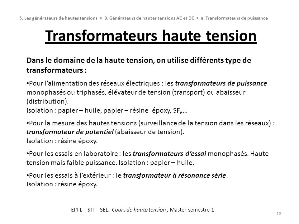 Transformateurs haute tension