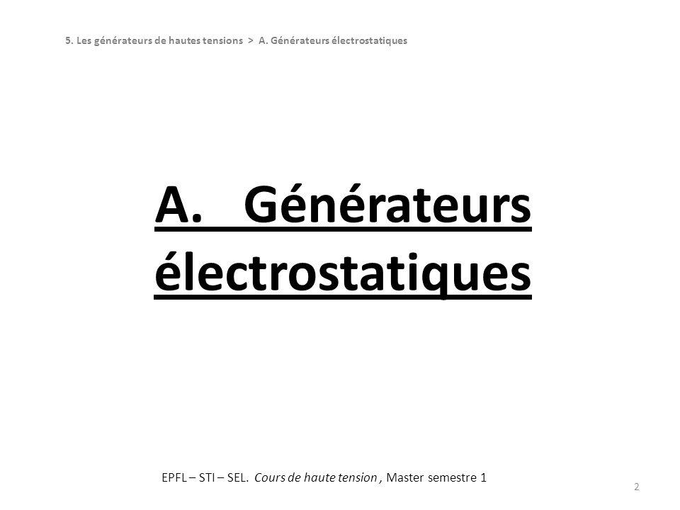 A. Générateurs électrostatiques