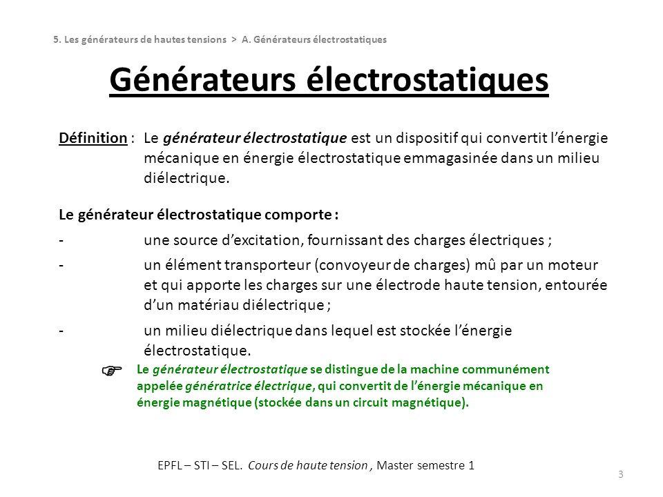 Générateurs électrostatiques