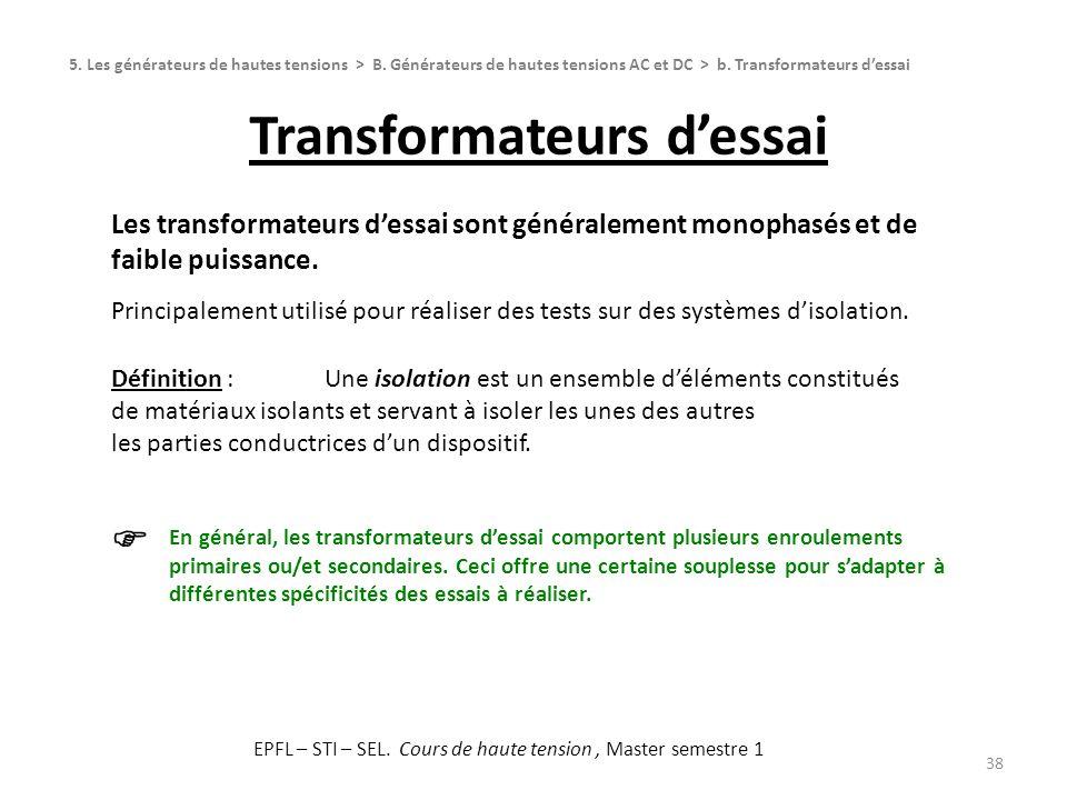 Transformateurs d'essai