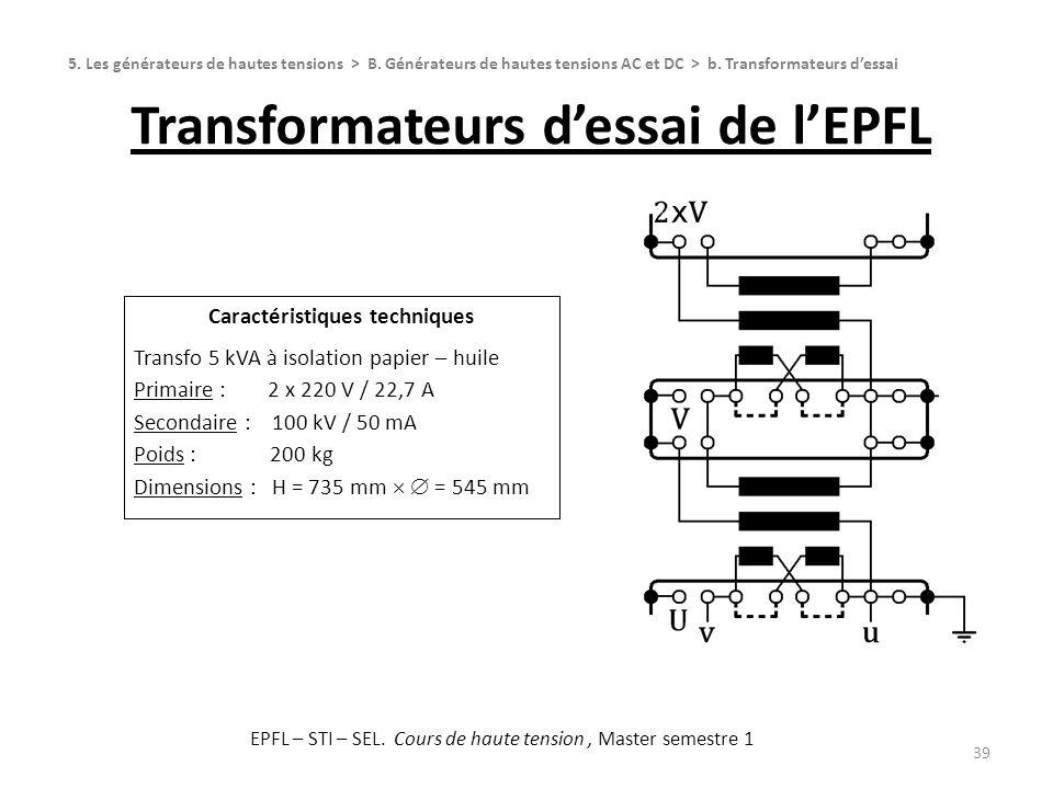 Transformateurs d'essai de l'EPFL