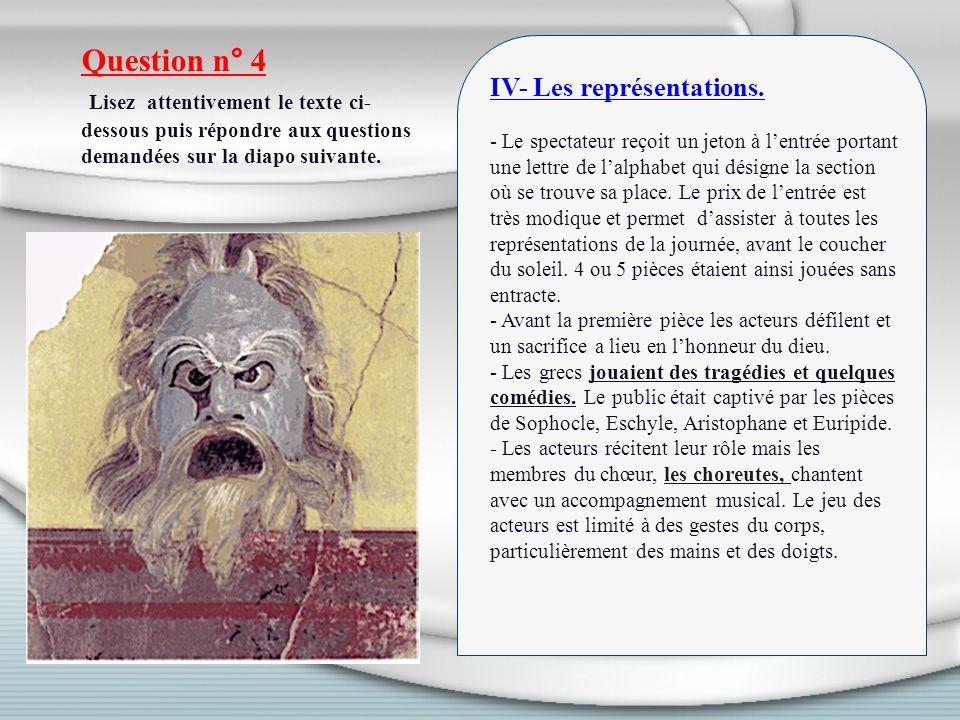 Question n° 4 Lisez attentivement le texte ci-dessous puis répondre aux questions demandées sur la diapo suivante.