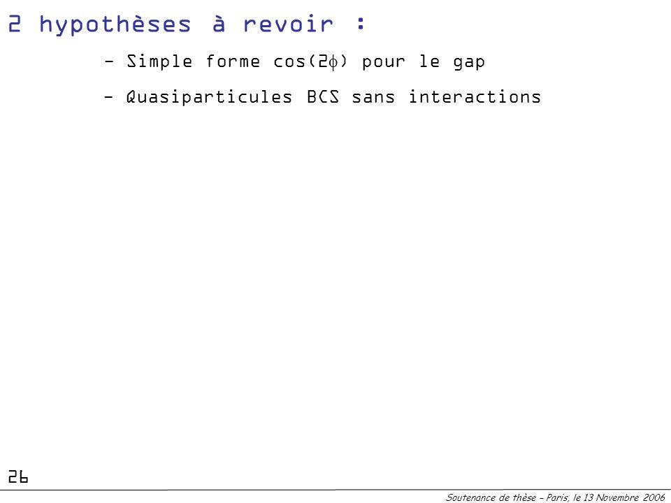 2 hypothèses à revoir : - Simple forme cos(2f) pour le gap