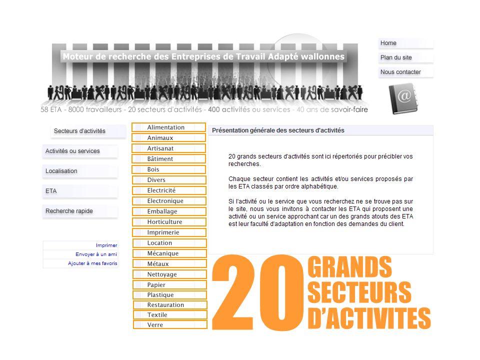 20 GRANDS SECTEURS D'ACTIVITES
