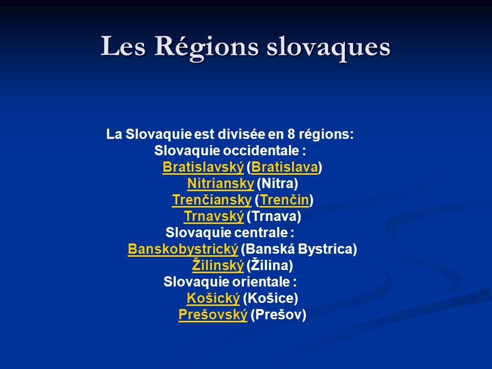 Les Régions slovaques La Slovaquie est divisée en 8 régions: