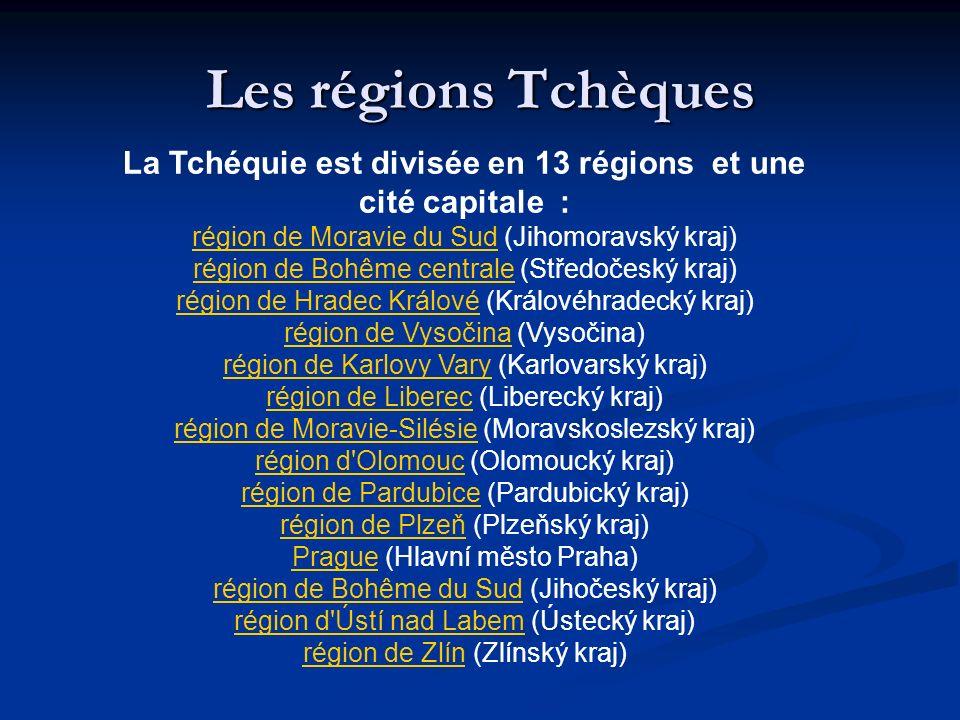 La Tchéquie est divisée en 13 régions et une cité capitale :