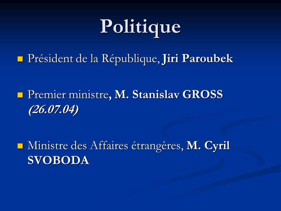 Politique Président de la République, Jiri Paroubek