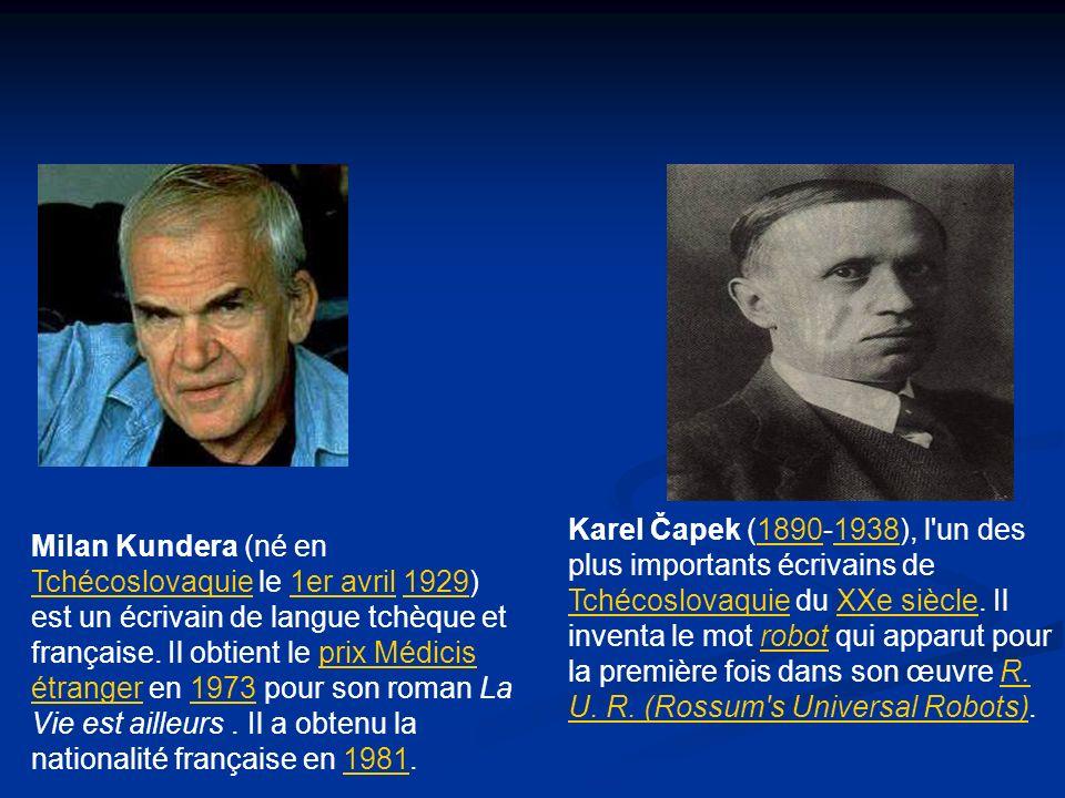 Karel Čapek (1890-1938), l un des plus importants écrivains de Tchécoslovaquie du XXe siècle. Il inventa le mot robot qui apparut pour la première fois dans son œuvre R. U. R. (Rossum s Universal Robots).