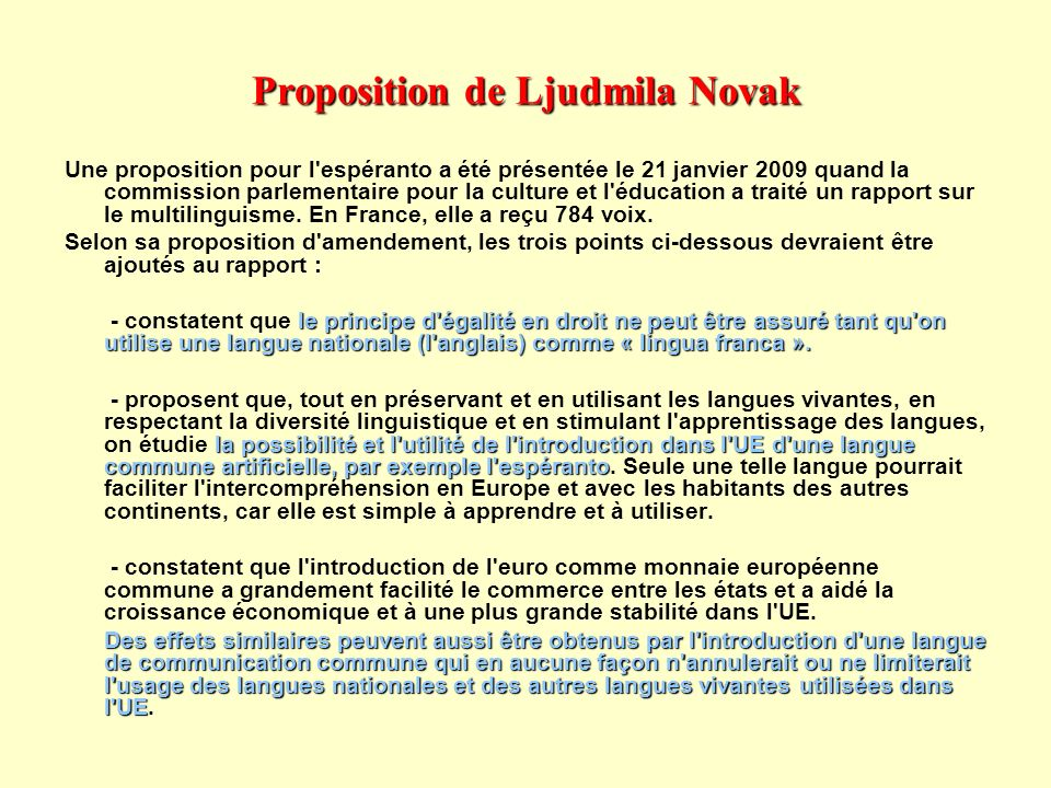 Proposition de Ljudmila Novak