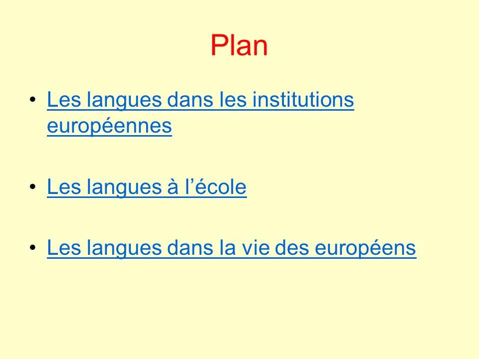 Plan Les langues dans les institutions européennes