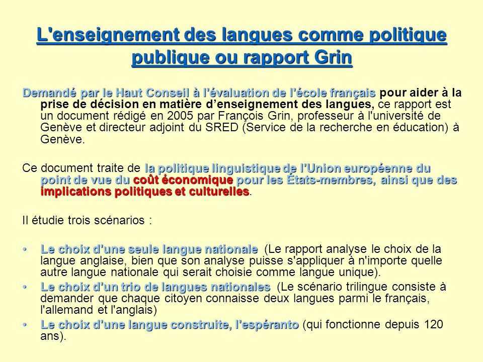 L enseignement des langues comme politique publique ou rapport Grin