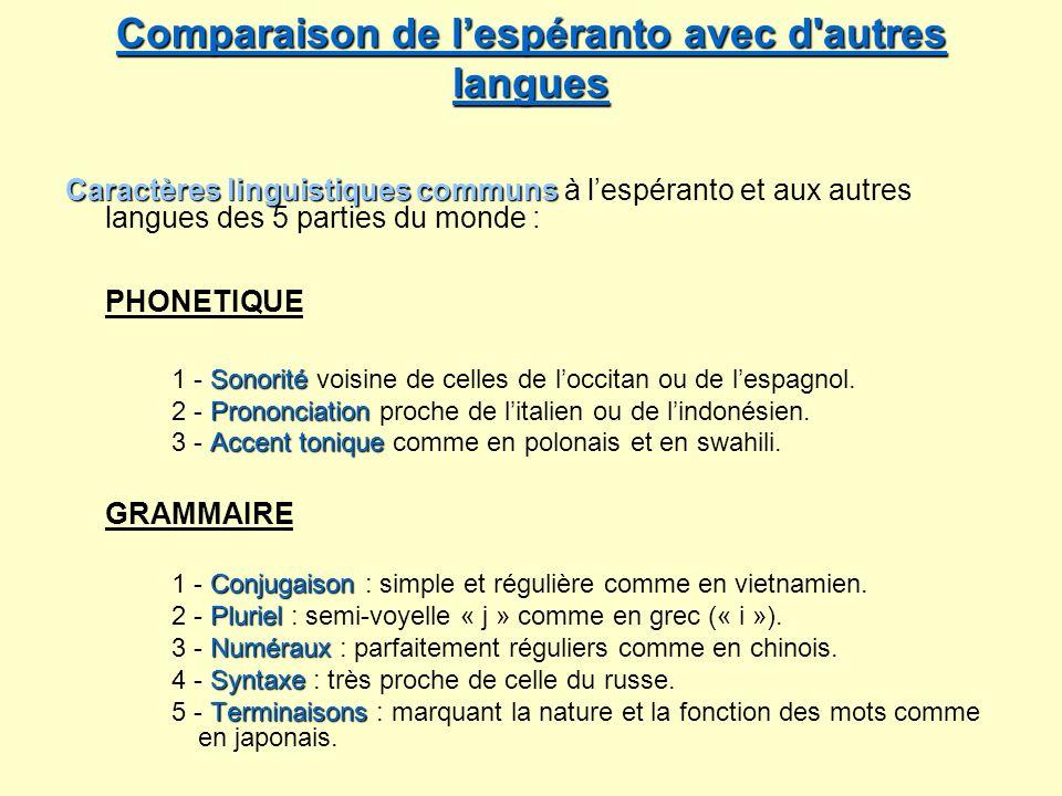 Comparaison de l'espéranto avec d autres langues