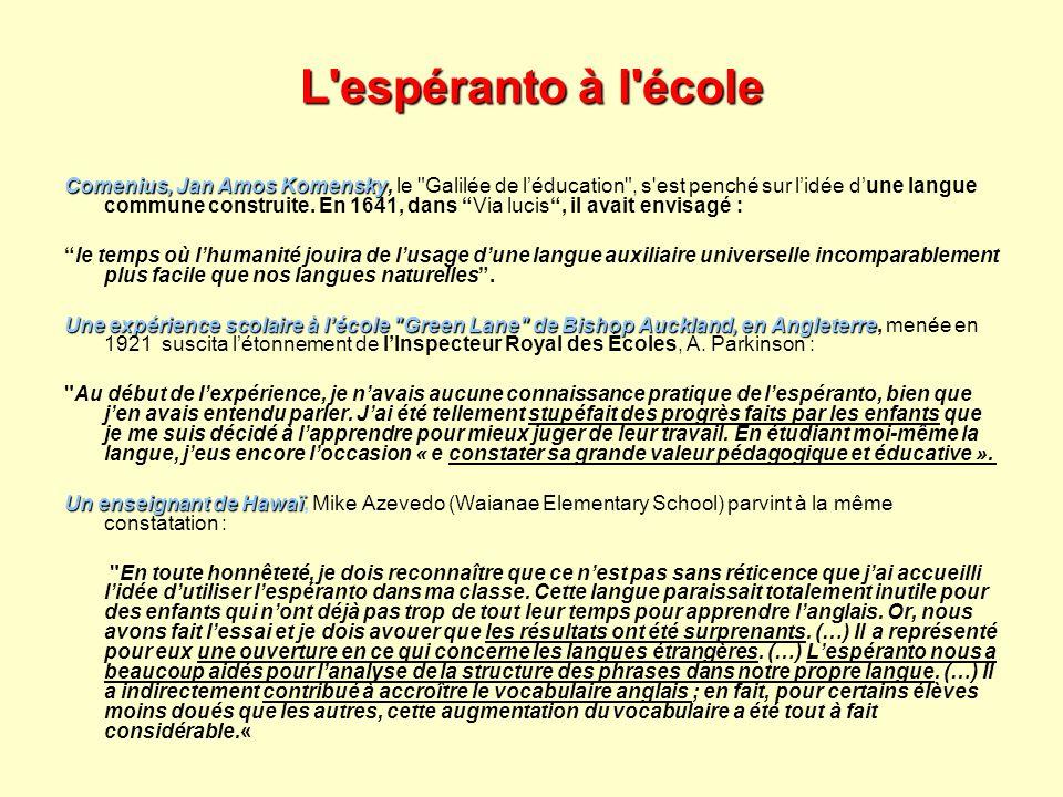 L espéranto à l école