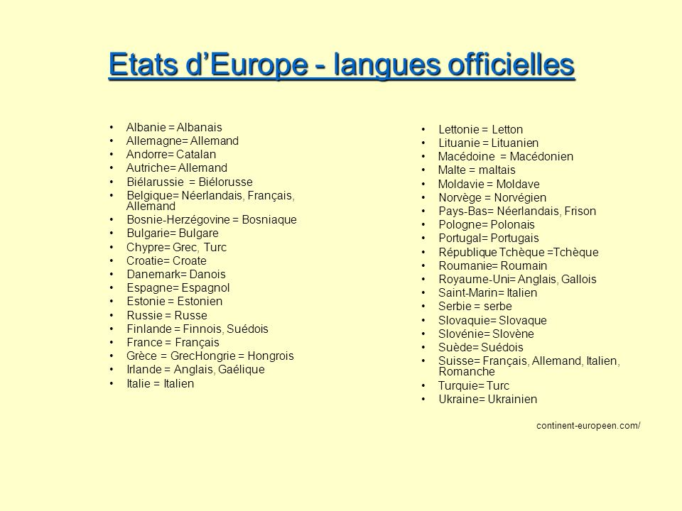 Etats d'Europe - langues officielles