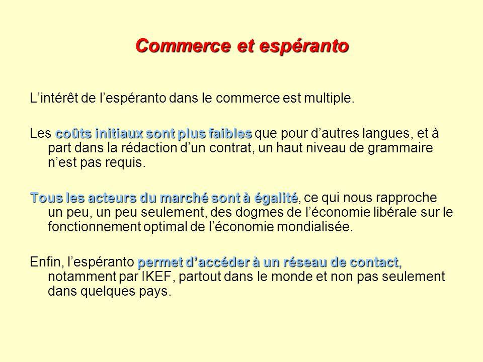 Commerce et espéranto L'intérêt de l'espéranto dans le commerce est multiple.