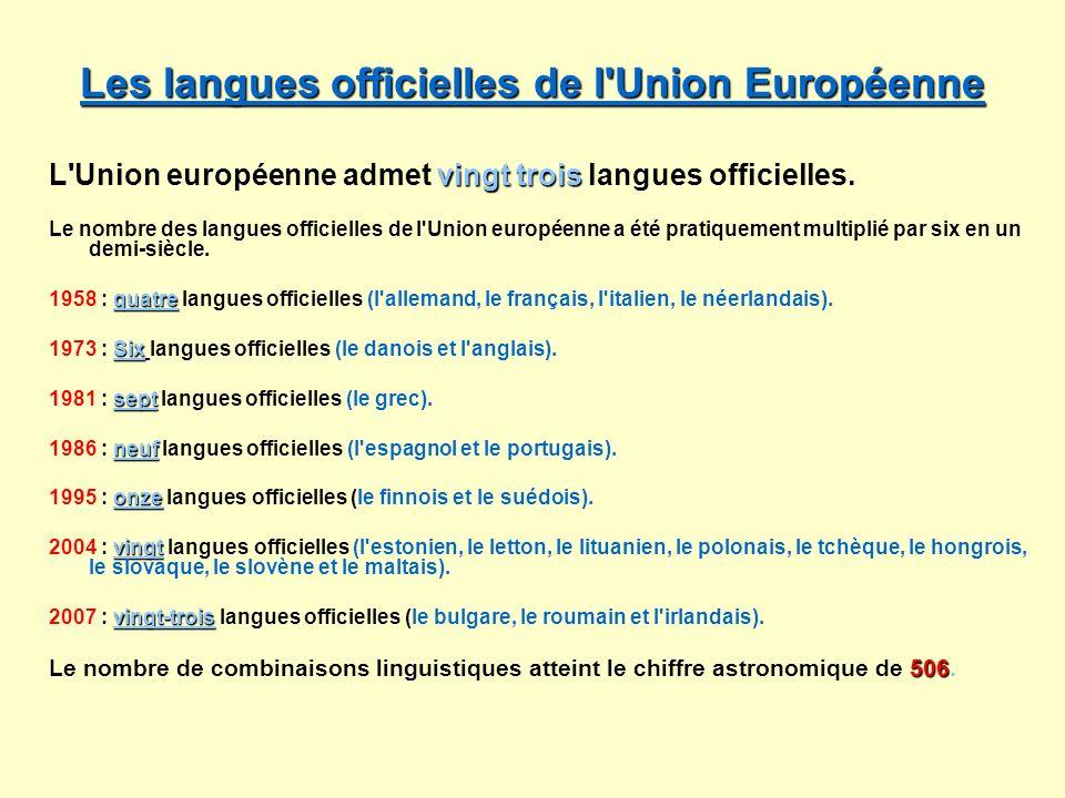 Les langues officielles de l Union Européenne
