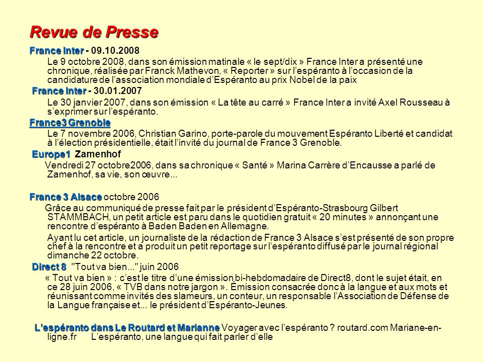 Revue de Presse France Inter - 09.10.2008